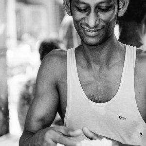 Man doing needlework