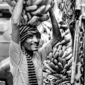 Man carried bananas
