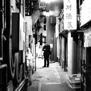 businessman in alleyway