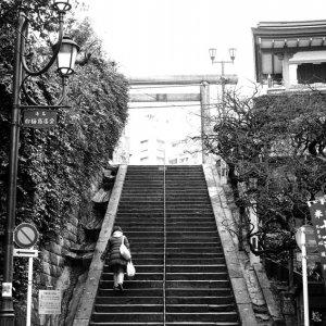 湯島天満宮の急な階段
