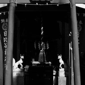 小さな神社の狐の像