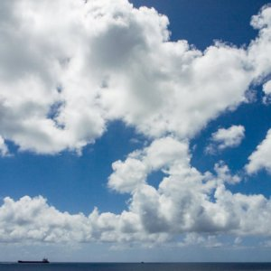 Tanker under clouds