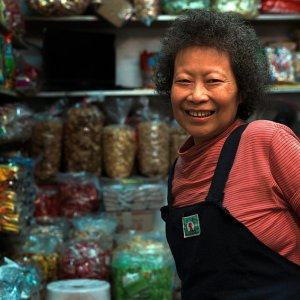 Woman working in candy store