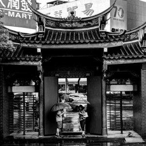 gate and umbrellas