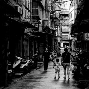 Parent and child in street