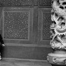 Little Boy And Decorative Pillar
