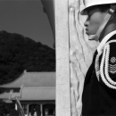 Guardsman Keeping Eyes Closed