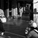 Woman Walking With Her Head Down
