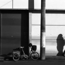 Bicycle, Pole And Woman