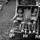 Twin Sisters Sitting On A Pushchair