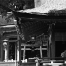 Shinto Priest In The Building With The Thatched Roof