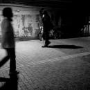 Figure Walking The Dim Road In Yurakucho
