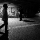 Figure Walking The Dark Road In Yurakucho