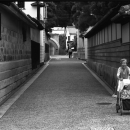 An Old Lady Pushing The Trolley @ Okayama