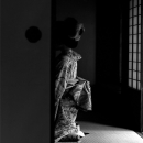 Figure Wearing Kimono In The Next Room