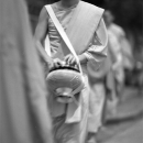 Monk Walking With Alms Bowl @ Laos