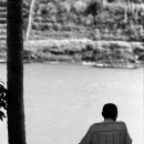 Man Was Looking At The Nam Khan River