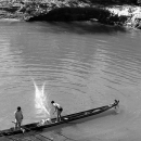 Men Fishing On The Boat @ Laos