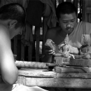 Carving Monks And Incomplete Buddha Images @ Laos
