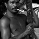 Muscle-bound Man With A Cigarette And A Knife
