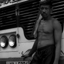 Driver Stood In Front Of A Bus @ Sri lanka