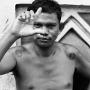 Man Who Was Naked To The Waist Posed @ Philippines