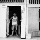 Frowned Boy At Door @ Philippines