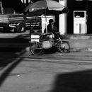 日傘付きの自転車