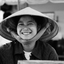 Bashful Smile Wearing A Conical Hat @ Vietnam