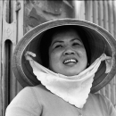 Woman Wearing A Conical Hat In The Market @ Vietnam