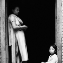 Mother And Her Daughter At The Door @ Nepal