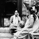 Women In Front Of A Small Hindu Temple  @ Nepal