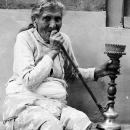 Old Lady Smoking A Hookah @ Nepal