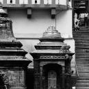 寺院の人混みと数匹の猿