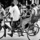 Fully Loaded Cycle Rickshaw In The Street