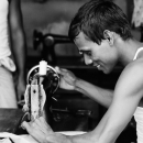 Man Manipulates A Sewing Machine With Smile @ Bangladesh