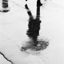 濡れた路面の影