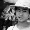 Hawker Wearing A Pith Helmet @ Myanmar
