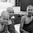 Three Young Monks Were Ralaxing @ Myanmar