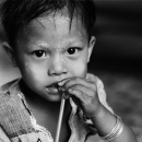Boy Holding A Straw In His Mouth @ Myanmar