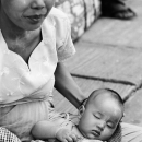 Peacefully Sleeping Baby On The Knee @ Myanmar
