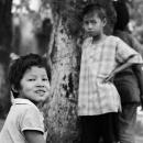 木立の中で遊んでいた子供