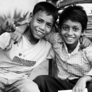 Two Boys Putting Their Arms Around The Shoulders @ Myanmar