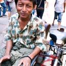 Rickshaw Driver Wearing A Longyi @ Myanmar