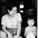 Bashful Boy And Smiling Grandmother @ Myanmar
