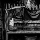 木のベンチに腰掛けた老人