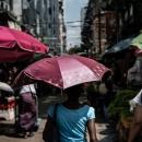 Umbrella In Street Market
