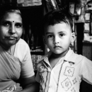 Boy And Grandma In A Genaral Store @ India