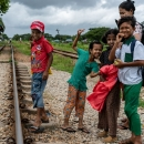 Family On The Railway Track