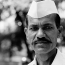 Man Wore A Mustache And Gandhi Cap @ India